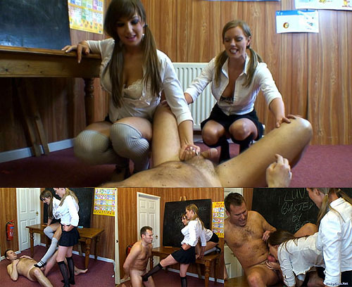 The two sexy and young ballbusting teen sluts are approached by one of their ...