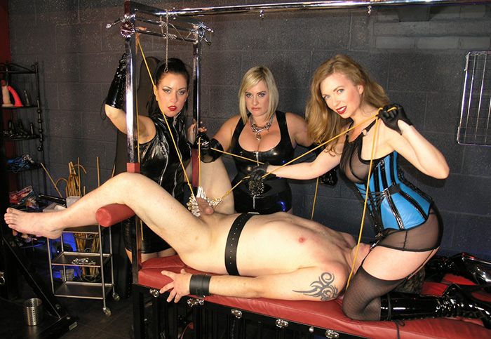 Three MIstresses Torturing One Cock